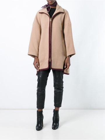 Beige funnel neck zip coat