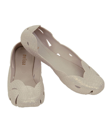 The Melissa Snake + Animale Flat- Beige Snake Print Flat Belly