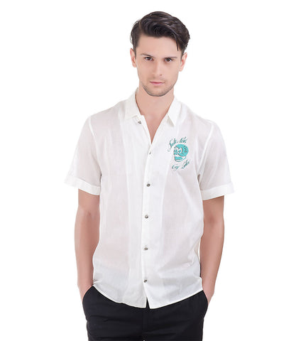 Richmond White Shirt With Green Colour Skull Logo