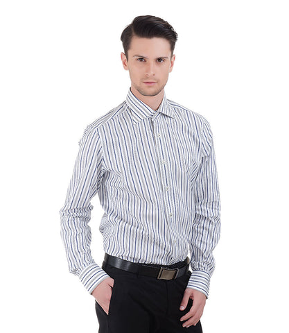 BLUE STRIPE SHIRT WITH SELF DESIGN