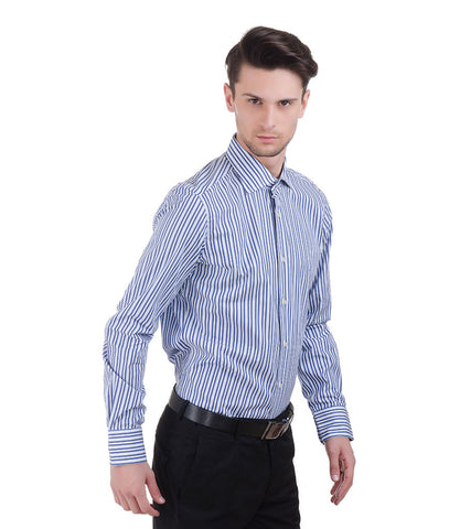 ALEA BLUE BIG & SMALL STRIPE SHIRT