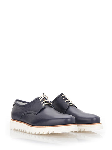 Navy blue leather Derby shoes