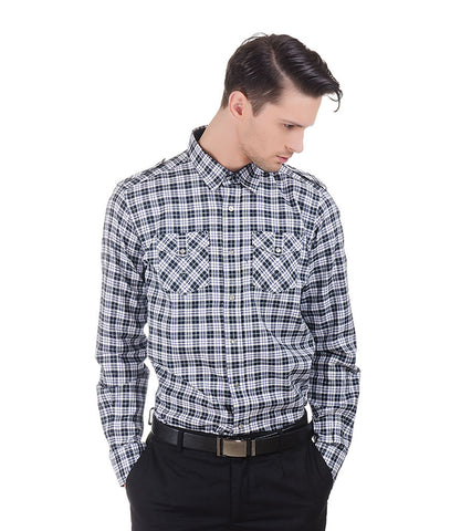 Lagerfeld Black & White Check Shirt With Two Front Pockets