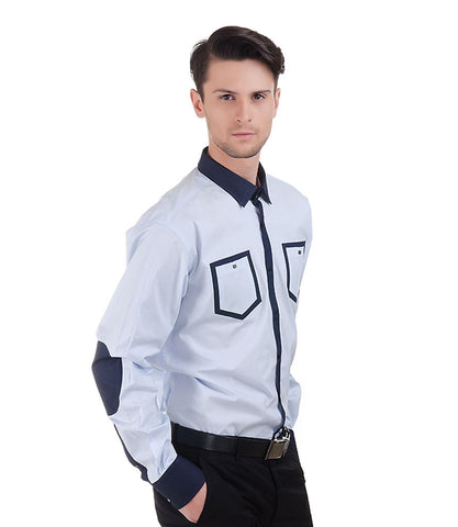 Lagerfeld Lt.Blue Shirt With Navy Collor And Pocket