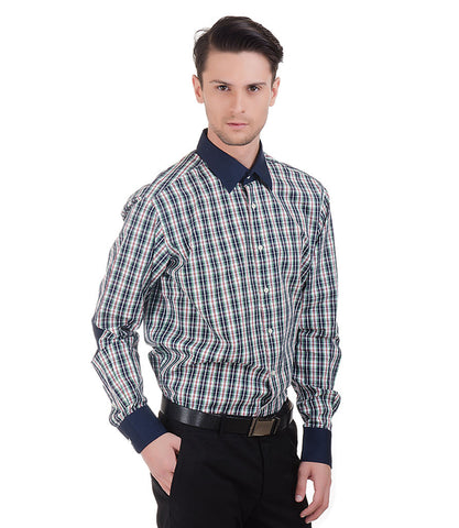 Lagerfeld Blue Green Check Shirt With Navy Collar
