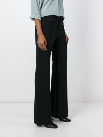 Black stretch wool Fitted flared trousers