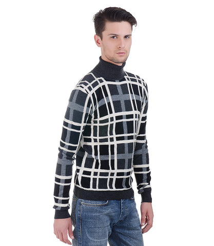 Lagerfeld Black,White & Grey Check High Neck Pullover