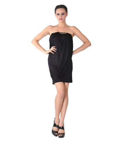 Phard Black Dress With Crystal Embellishment