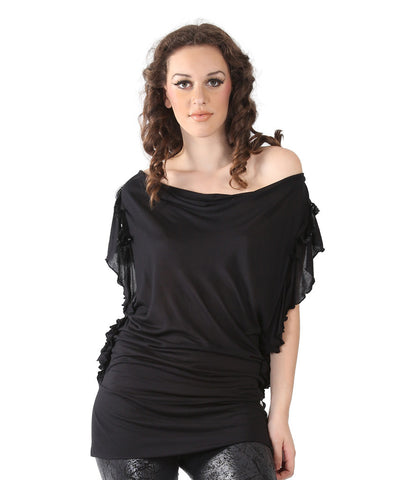 Phard Black Long Top With Sequence On The Sleeves