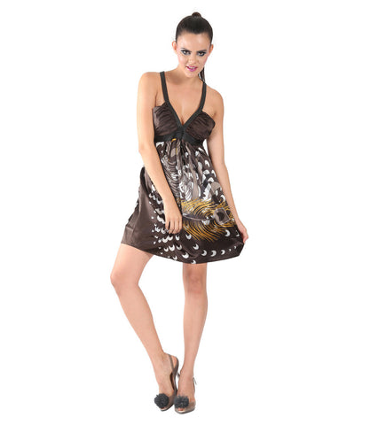 Phard Dark Chocolate Color Printed Sleeveless Dress