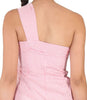 Farhi Dark Pink and White Stripe One Shoulder Dress