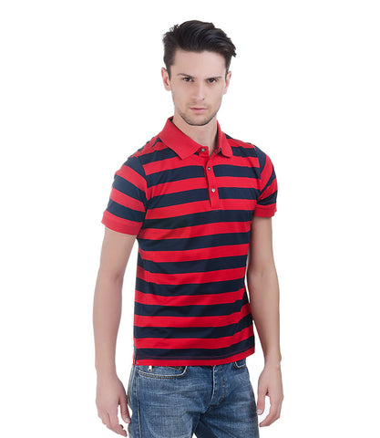 Lagerfeld Red & Blue Stripe Polo T-Shirt