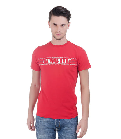Lagerfeld Red Round Neck T-Shirt