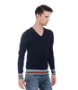 CHRISTIAN LACROIX NAVY PULLOVER WITH MULTI COLOR STRIPE BASE & SLEEVE