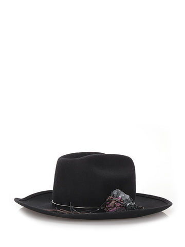 Black wool hat with flower