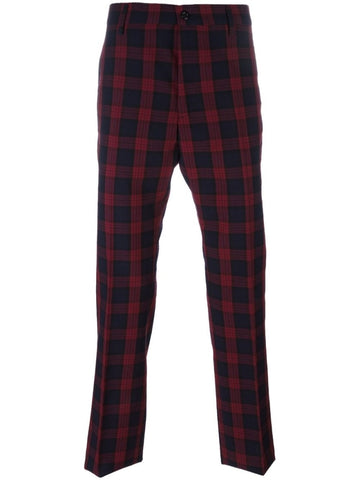 Black and red Checked trousers