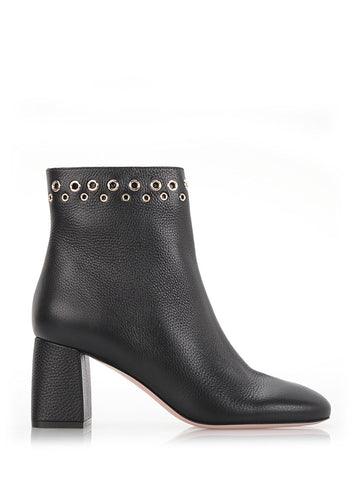 Black Grained Leather Ankle Boots