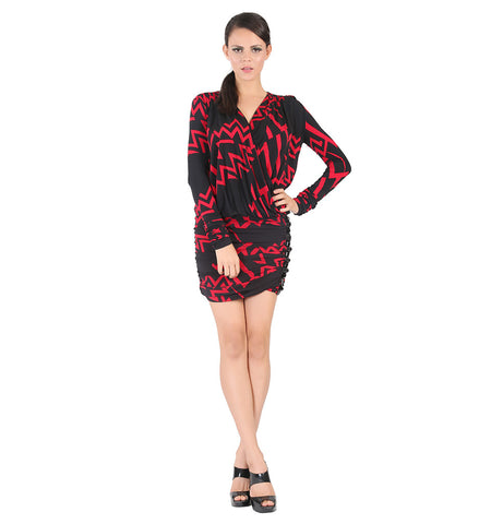Black and red printed dress