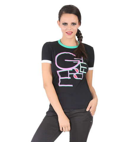 Black t-shirt with multi color logo