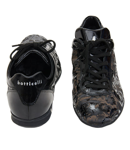 Roberto Botticelli Black-Brown Self Design Shoes
