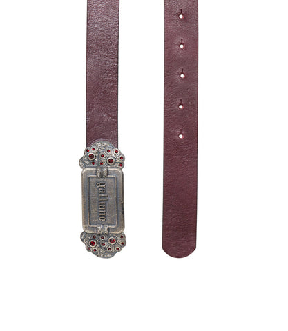 Galliano Brown Belt With Ornate Buckle