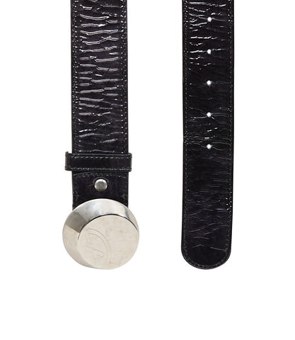 Francesco Biasia Round Embossed Logo Black Patent Belt