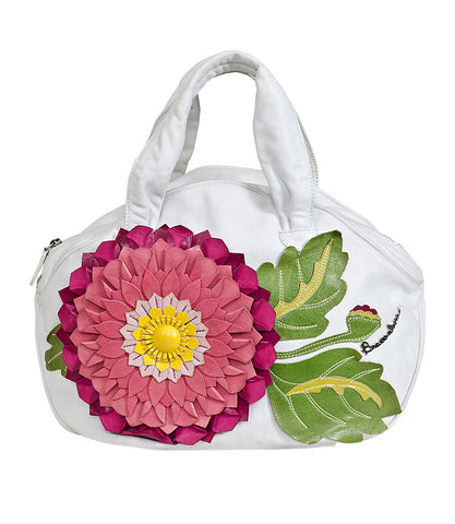 Braccialini White Bag with 3D Pink Leather Flower Patch Work
