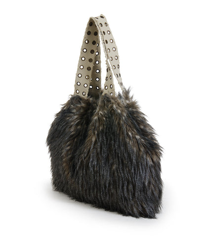 Custo Barcelona Fur And Canvas Reversible Bag