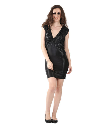Miss Sixty Black Leather Look Dress