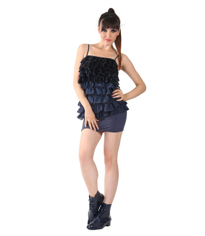 Miss Sixty Navy Sequence Dress