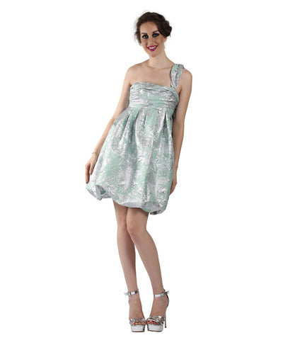 Christain Lacroix Green and Silver Dress