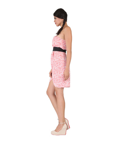 Peach Printed Dress With Black Belt