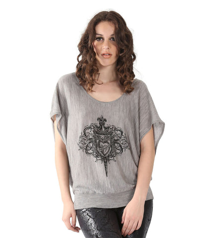Grey Top With Black Faith Infront