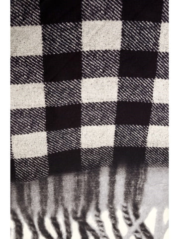 Black and white wool printed scarf