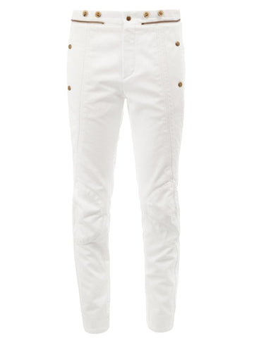 White Zipper detail panelled jeans