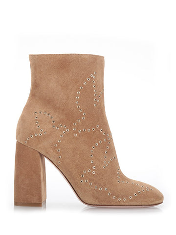 Beige Studded Suede Ankle Boots