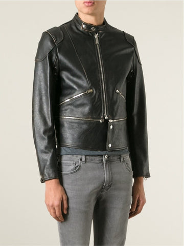 Black leather distressed biker jacket