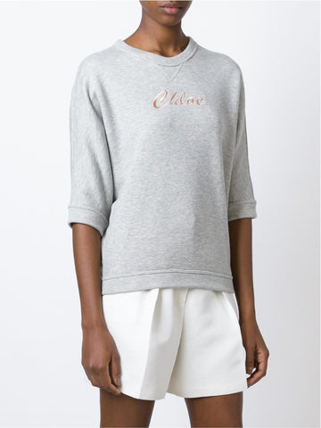 Pearl grey cotton logo embroidered sweatshirt