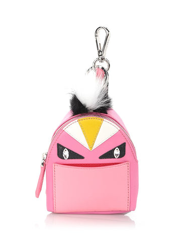 Pink fox fur and leather Bag Bug key ring