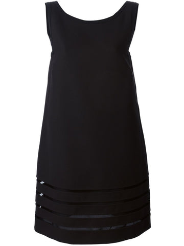Black double crepe dress .