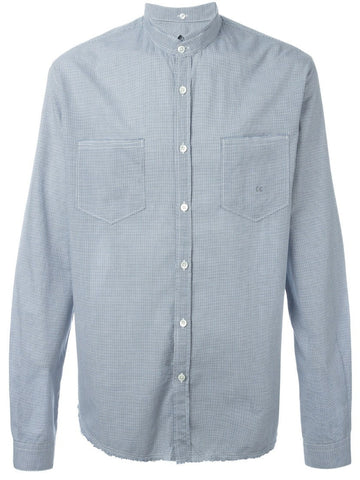 Blue cotton gingham check shirt