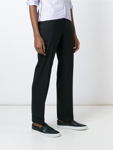 Black virgin wool straight leg trousers