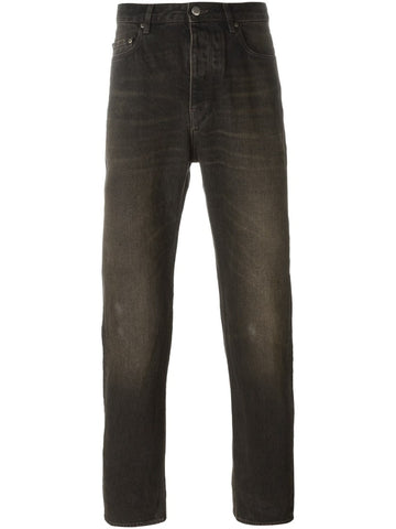 Black cotton straight leg jeans