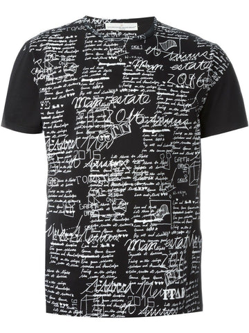 Black and white cotton handwriting print T-shirt