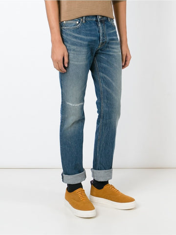 Blue  cotton straight leg jeans.