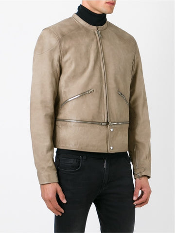 Almond-coloured leather zip detail leather jacket.