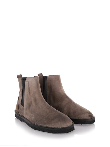 Dove grey and black suede boots.