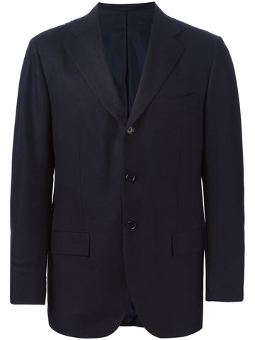 Blue cashmere notched lapel blazer