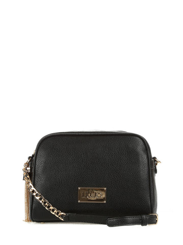 LIU JO Black eco-leather shoulder bag.