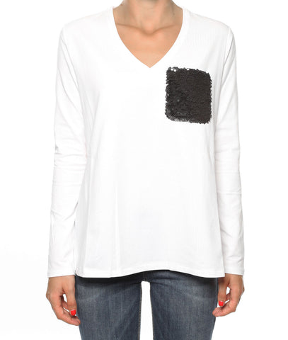 LIU JO, White Label White long sleeved shirt with sequins.